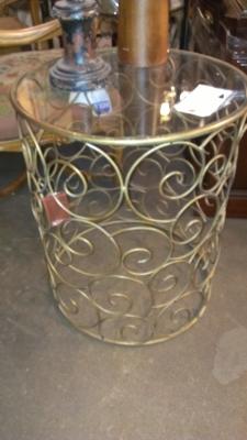 14E25 ROUND METAL MODERN LAMP TABLE