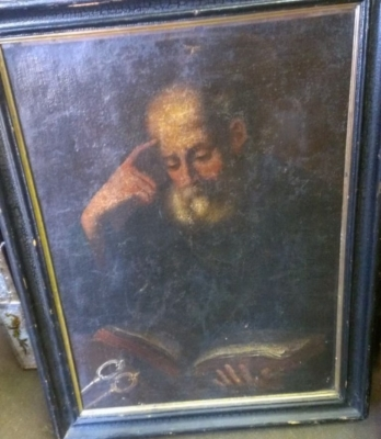 14F02 OIL PAINTING OF OLD MAN STUDYING