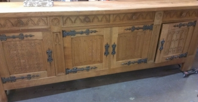 14E GOTHIC LONG BUFFET WITH STRAP HINGES AND CARVED DOORS