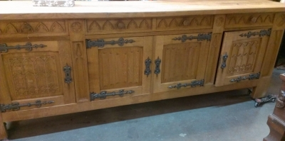 14E GOTHIC CARVED SIDEBOARD WITH STRAP HINGES