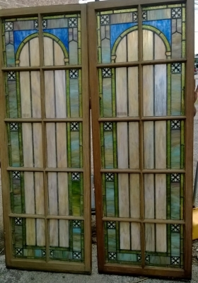 14F06002 AND 03 TALL STAINED SLAG GLASS WINDOWS (1).jpg