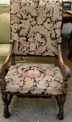 14F06014 FRENCH HEAVILY CARVED WITH TAPESTRY ARM CHAIR (1).jpg
