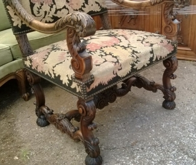 14F06014 FRENCH HEAVILY CARVED WITH TAPESTRY ARM CHAIR (3).jpg