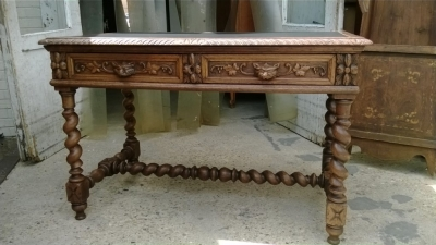 14F06016 FRENCH BARLEY TWIST LEATHER TOP LIBRARY TABLE  (2).jpg