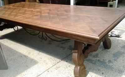 14F06020 GIANT SPANISH IRON TRESTLE BASE DINING OR CONFERENCE TABLE  (1).jpg
