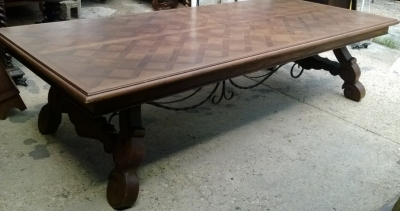 14F06020 GIANT SPANISH IRON TRESTLE BASE DINING OR CONFERENCE TABLE  (2).jpg