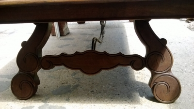 14F06020 GIANT SPANISH IRON TRESTLE BASE DINING OR CONFERENCE TABLE  (5).jpg