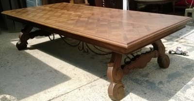 14F06020 GIANT SPANISH IRON TRESTLE BASE DINING OR CONFERENCE TABLE  (6).jpg