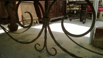 14F06020 GIANT SPANISH IRON TRESTLE BASE DINING OR CONFERENCE TABLE  (10).jpg