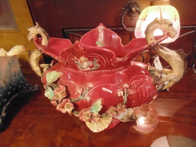 14B15018 LARGE MAJOLICA CENTERPIECE WITH DRAGONS  (1)