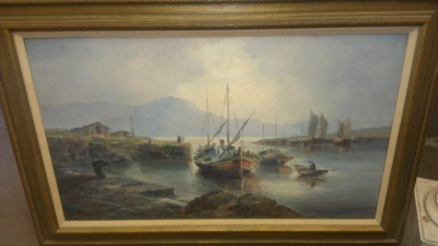 14F16113 LARGE OIL PAINTING OF BOATS