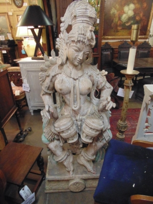 14B15021 LARGE CARVED ASIAN STAUE ON TABLE BASE  (1)