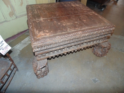 14B15021 LARGE CARVED ASIAN STAUE ON TABLE BASE  (3)