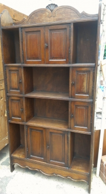 14F164  UNUSUAL OAK CABINET BOOKCASE NICE SIZE AND SHALLOW DEPTH
