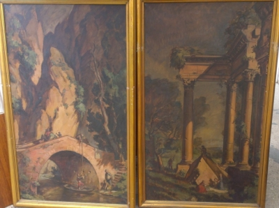 14F164 PAIR LARGE OIL PAINTING