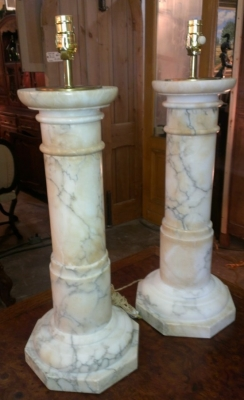 14F16553 PAIR VERY LARGE MARBLE COLUMN LAMPS