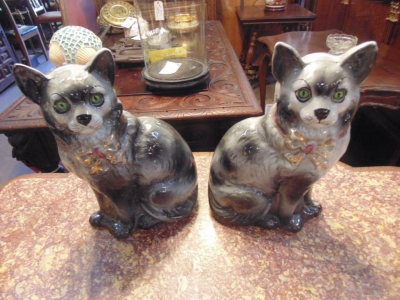 SOLD   14B15034 PAIR OF STAFFORDSHIRE CATS WITH REGISTER MARKS  (2)