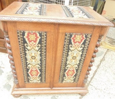 13F17202 FRENCH OAK BLANKET BOX WITH EMBROIDERED PANELS.JPG