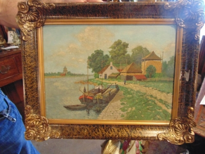 14B15044 SMALL CANAL OIL PAINTING (1)