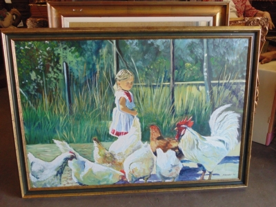 SOLD   14B15045 GIRL WITH CHICKENS OIL PAINTING (1)