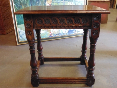 SOLD  14B15047 SMALL OAK TABLE WITH CARVED GUILLOCHES