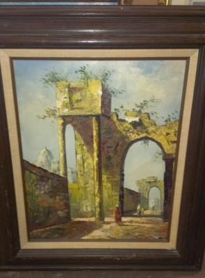 14G14 OIL PAINTING RUINS