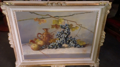 14G144 GRAPES STILL LIFE OIL PAINTING