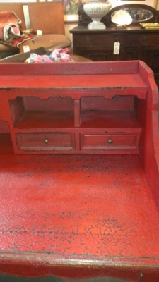 36 RED DESK WITH LIFT OFF CUBBY SECTION