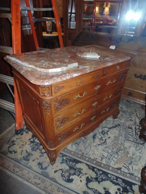 14B15051 LOUIS XV FINE CARVED MARBLE TOP COMMODE  (2)