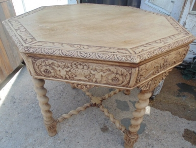 13F17206 LARGE CARVED OAK FRENCH OCTAGON TABLE FROM TURN OF THE CENTURY (1).JPG