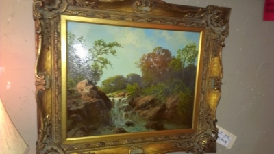14G21 A.D. GREER OIL PAINTING OF WATER FALL