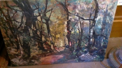 14G21 FOREST PATH OIL PAINTING