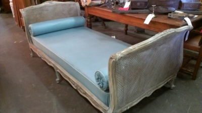 14G28 CANED FRENCH CHAISE HAS SMALL HOLE IN CANE