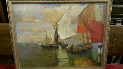 14C03600  OIL PAINTING OF SAIL BOATS SIGNED CARL OLSEN