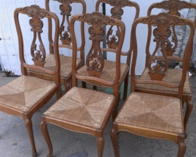 14G27 SET OF 6 RUSH SEAT FRENCH CHAIRS