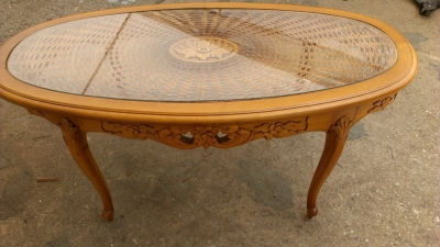 14G27 OVAL CANED COFFEE TABLE