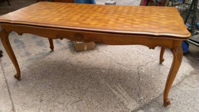 14G27 LONG AND NARROW COUNTRY FRENCH PARQUET TOP DINING TABLE