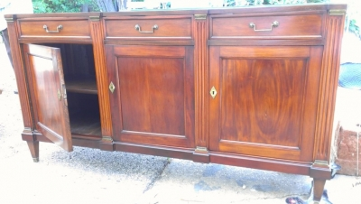 14G27 MAHOGANY BLACK MARBLE TOP FRENCH BUFFET