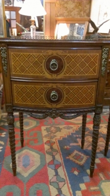 36 83632 PAIR MARQUETRY NIGHT STANDS