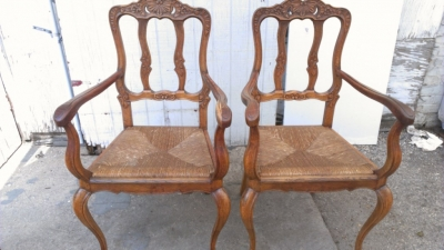14B27 PAIR COUNTRY FRENCH RUSH SEAT ARM CHAIRS