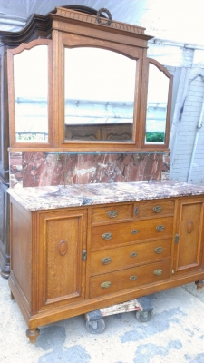 14G27 OAK MARBLE TOP FRENCH VANITY WITH MIRROR