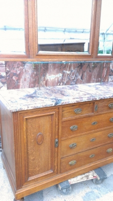 14G27 OAK FRENCH VANITY AND MIRROR