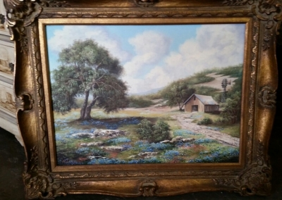 14G28510 WEISS OIL PAINTING OF BLUEBONNETS AND BARN