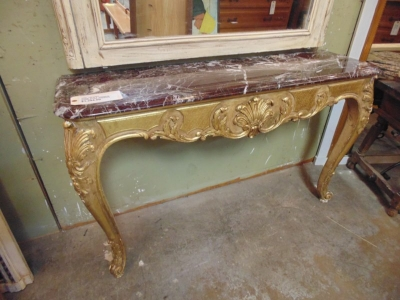 13F17207 GUILT FRENCH CONSOLE WITH MARBLE TOP (2).JPG