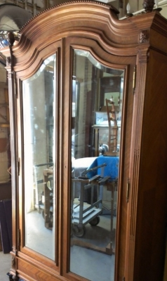 14B06014 FRENCH TWO DOOR MIRRORED ARMOIRE