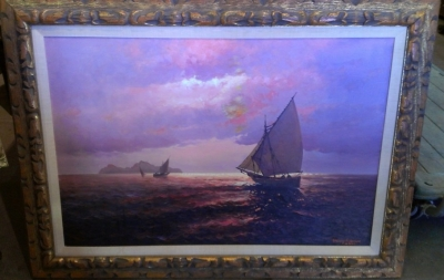 14C10254 LARGE MARIO FREDERICO SAIL BOAT PAINTING ON CANVAS