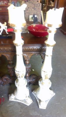 14H11 TALL ALTAR CANDLES VERY OLD