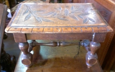 14H11 SMALL CARVED FOOT STOOL