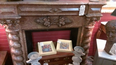 36 83412 FAUX MARBLE MANTLE WITH BARLEY TWIST