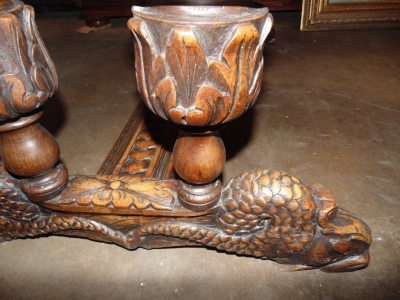 13F06008 CARVED OAK DOLPHIN FOOT LIBRARY TABLE (4)